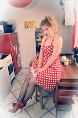Sit on table (omegon1701) Tags: red woman sexy kitchen girl beautiful lady vintage dress innocent heel 50 pantyhose pinup