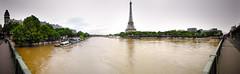 Paris Seine river flooded (Zeeyolq Photography) Tags: city panorama paris france water seine river ledefrance flood eiffeltower inondation parisseine