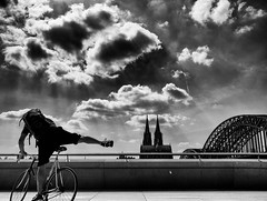 Cologne (Dan-Schneider) Tags: street streetphotography schwarzweiss scene schneider silhouette sky urban europe human sun olympus clouds omdem10 moment monochrome blackandwhite bw best einfarbig cologne camera flickr velo travel trip bike