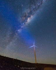 Wind & light (nightscapades) Tags: sky night stars au australia lakegeorge astrophotography newsouthwales astronomy canberra windfarm nightscapes turbines milkyway tarago galacticcore capitalwindfarm