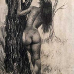 "<b>Nude Behind Tree</b><br/> Bill Hampton (1925-1977) ""Nude Behind Tree"" Pencil, n.d. LFAC #947<a href=""http://farm8.static.flickr.com/7180/6779927878_fdf2a6d781_o.jpg"" title=""High res"">∝</a>"