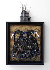 Kym Hepworth / Southern Gothic (Flannery O'Connor) / 2012 / mixed media / 35 3/4 x 20 5/8 x 4 3/8 in. (Kym Hepworth) Tags: blue house black art heritage assemblage mixedmedia buttons gothic gray goth roots crosses bible tintype birthplace treeline fourleafclover foundobject pennies hauntedhouse savannahga foundphotograph beadwork inheritance flanneryoconnor dolldress dollarms lincolnpennies kymhepworth civilwarbullet southerngothicflanneryoconnor braideddollhair