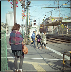 on the street (i'm Jac) Tags: street family people 120 6x6 film girl japan backlight analog square tokyo snapping rail 66 hasselblad 160 500cm