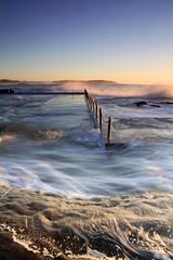 Dee Why Beach swimming pool wash at sunrise (stevejamesj) Tags: seascape sunrise movement deewhy oceanpool