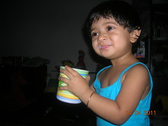 Goongoon-DSCN1615 (jhtitu) Tags: blue baby smiling tops cutebaby hasan gungun goongoon alpona jannat bangladeshibaby babydrinkingmilk babywithmug baywithbluetops