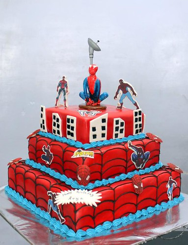 Remarkable Spiderman Cartoon 3 Tier Birthday Cake A Photo On Flickriver Personalised Birthday Cards Cominlily Jamesorg