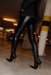Friday night - eating out with friends (Rosina's Heels) Tags: leather high boots heel stiletto