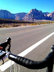Surface To Air (apieceofglass (liamphilley.com)) Tags: road cycling climb desert lasvegas redrock elevation handlebars iphone neveda takenwithiphone