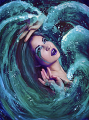 Drowning Nightmare - Part II (AmieLeBlanc) Tags: blue water paint waves sad fear dream cyan nightmare cry afraid splash tear fears drowning drown lichtenstein overwhelmed whitecaps bluewaves coloursurrealismfantasyromance cyanwaves