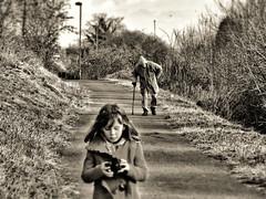 He's behind you. (JonnyGoodchild) Tags: trees blackandwhite bw girl kids children countryside blackwhite walks view edited country fujifilm countrywalk hs20 blackwhitephotos viewviews hs20exr fujifilmfinepixhs20 josiegoodchild