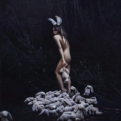 a small girl grown (brookeshaden) Tags: bunnies childhood forest woods sad surreal rabbits whimsical childish darkphotography fineartphotography lepor positivity brookeshaden texturesbylesbrumes