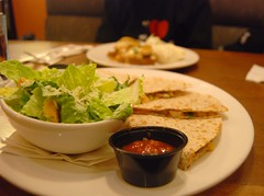 Chicken Quesadillas and Ceasar Salad from the White Spot in downtown Vancouver (Kelli Wong Photography) Tags: food canada vancouver lunch restaurant salad bc whitespot chickenquesadillas