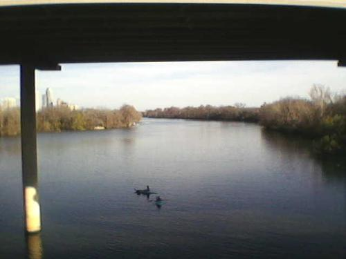 Picture of kayakers from on the bridge