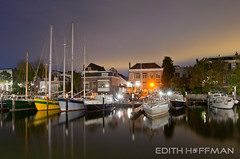 Maartensgat by night! (Edith Hoffman) Tags: longexposure sky reflection water netherlands night boats lights harbour peaceful center dordrecht zuidholland maartensgat