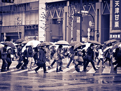Tokyo rainy afternoon monochrome [explored] (kasa51) Tags: street city people bw monochrome japan digital lumix tokyo panasonic f18 olympuspen 45mm gf1 mzuiko