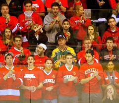Kevin Twitchell '91 stands loyal to Clarkson hockey during the men's game at Cornell that ended in a 0-0 tie in December 2011 (Clarkson University) Tags: clarkson clarksonhockey clarksonalumni