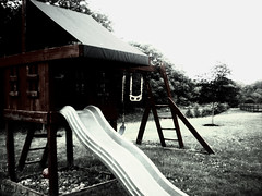 (cristinacriv) Tags: treehouse slide swings gray dull gloomy