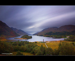 Glenfinnan (Kit Downey) Tags: autumn house west monument sunrise canon lens landscape eos rebel hotel scotland highlands october kiss long exposure angle 10 wide scenic scottish prince super tourist tokina charlie stop filter bonnie kit loch f28 glenfinnan x4 attraction 2010 downey shiel 1116 x1000 550d ndf t2i