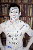 Body painted Ray Lee spreads the word with some of the words from some of the 54 writers books that will feature at this years Dublin Writers Festival. Photo: Leon Farrell/Photocall Ireland