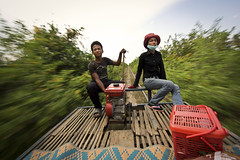 fast bamboo train in Battambang. (DominicStafford.) Tags: travel strange rural train canon countryside asia cambodia khmer transport culture fast bamboo jungle motor 1022mm battambang 2012 60d