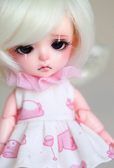 (Aya_27) Tags: pink white cute bunny girl yellow bigeyes amazing doll sad dress heart girly unique sewing clown special tiny stunning lea bjd handsewn mywork lovely collar custom dollfie limited pierrot byme sewn ruffle dollie latidoll inhand babypink lati sadlook 16cm dressbyme dyedresin faceupbyandreja
