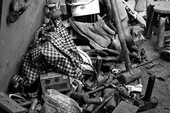 Items at the Junk Yard (Alex E. Proimos) Tags: bw hammer work bag boot bucket junk collection equipment tip rubbish junkyard wretch waste items recycle stool mallet crowbar spanner