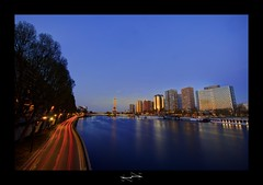 Paris sunset By D.F.N. ('^_^ D.F.N. Damail ^_^') Tags: voyage street city travel bridge blue light sunset vacation favorite paris france color tower art love water