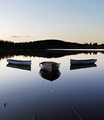 crescents (kenny barker) Tags: moon reflection landscape boats lumix scotland zen loch trossachs lochrusky panasoniclumixgf1 panasonicgf1 welcomeuk kennybarker
