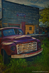 Silvertowns (Dave Arnold Photo) Tags: old usa ford abandoned truck vintage us photo washington ruins pacific northwest image antique garage picture pic wash columbiariver chevy photograph wa goodrich mechanic smalltown columbiarivergorge antiquated maryhill oldwest davearnold silvertowns tiresign davearnoldphotocom chevyspirit