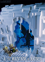 At the Mountains of Madness (captainsmog) Tags: mountains weird lego pole lovecraft vignette diorama moc elderthing madnesshorroricecoldencounterexplorersretroblackcavesnowsouth