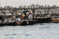 Fishermen on Pontoon Bridge, Shatt Al-Arab Waterway, Basra, Iraq