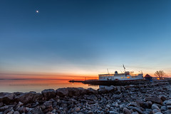The Chief and Moon at Sunset (Chaos2k) Tags: sunset moon lake ontario canada rocks hdr manfrotto northbay nipissing 52weeks 3exp canonef1635mmf28lusm 488rc2 chiefcommanda 055xprob canon5dmarkii brianboudreau 52weeksthe2016edition