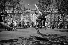 Ha! young again!!!! (poupette1957) Tags: life voyage street city portrait people urban man black game paris detail art monochrome architecture canon french town photographie noiretblanc skate curious rue ville grandangle parisblackandwhite atmosphre imagesingulires