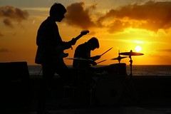Margate rock (Graham  Sodhachin) Tags: sunset silhouette musicians band margate