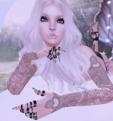Touch (Vix Stoanes) Tags: life white girl tattoo mesh piercing virtual pirate blonde second widow slave septum gor maitreya slink gorean nyam alaskametro