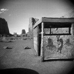 Plywood Petroglyph (LowerDarnley) Tags: arizona southwest utah holga monumentvalley plywood buttes navajonation petroglph