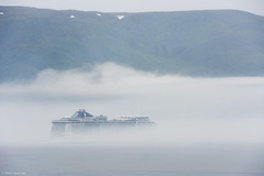 Into the fog (NikonStone (on and off)) Tags: mscsplendida cruise lesund nikon d7100 fog norway fjordnorway grey cruiseship cruisevessel msc