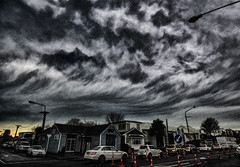 Woeful Skies (Steve Taylor (Photography)) Tags: road street city newzealand sky cloud house cold art cars texture rain sign digital scary traffic stormy eerie canterbury spooky lamppost nz southisland cbd jam lowkey frightening keepleft