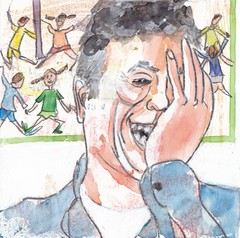 # 166 (14-06-2016) (h e r m a n) Tags: herman illustratie tekening bock oosterhout zwembad 10x10cm 3651tekenevent tegeltje drawing illustration karton carton cardboard portrait portret laughing smiling smilingface cryingmyeyesout tranenmettuiten