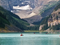 IMG_1135 (Lord Walt) Tags: park travel blue trees lake snow canada mountains reflection green ice nature water rock forest canon daylight nationalpark scenery view country peaceful powershot canoe alberta glaciers vista daytime geology lakelouise tranquil banffnationalpark canadianrockies waterscapes glaciallake theworldwelivein coniferousforest waltphotos lordwalt sx30is