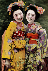 Maiko Hisazuru and Friend 1940 (Blue Ruin 1) Tags: smiling japan happy japanese kyoto postcard maiko geiko 1940s dianthus chinesebellflower motifs eri hagi kikyo bushclover kanzashi nadeshiko showaperiod apprenticegeisha obiage hikizuri haneri showa15 susohiki kyomaiko hisazuru hisatsuru trailingkimono bythasegawa dragonflykanzashi