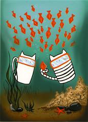 postcard - from Evinia, Russia 4 (Jassy-50) Tags: fish seaweed cat starfish drawing postcard postcrossing swimmer kotovasiya kotovasiyacat