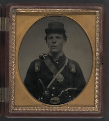 [Unidentified soldier in Union uniform and state of New York belt buckle with revolver and side knife and smoking pipe] (LOC) (The Library of Congress) Tags: portrait soldier uniform gun pipe smoking civilwar libraryofcongress smoker pipesmoker xmlns:dc=httppurlorgdcelements11 dc:identifier=httphdllocgovlocpnpppmsca32083