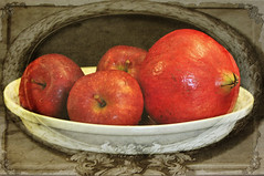 Apples and Pomegranate (Nancy Violeta Velez) Tags: stilllife texture fruits photography interesting flickr apples plantae motat punica angiosperms punicagranatum pomagranate malusdomestica rosids pomaceous mycountryhome tatot artistictreasurechest nikond5000 maleae applesandpomegranate nancyvioletaphotography contestno6 lenabemtexture155