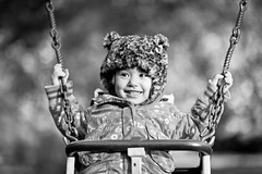 xiu swinging (pmac1985) Tags: china bear uk winter girls friends light summer portrait people blackandwhite bw baby love girl beautiful smile hat kids children happy photography bigeyes scotland photo nikon asia pretty dof photos bokeh daughter chinese 85mm naturallight 85 bearhat 14g xuixui d700 85mm14g