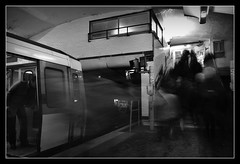 Affluence Parisienne Station Balard (Charles SEGUY photography) Tags: light people bw white black paris france art bulb train pose dark subway photography reflex google lomography nikon flickr artist noir photographer time métro free 8 rails effect souris blanc parisian array ligne labo useit longue creativecommon parisien trix1600 paternité flickraward tousdroitsréservés d3100 charlesseguy lelabodelasouris wwwlelabodelasouriscom wwwcharliephotofr