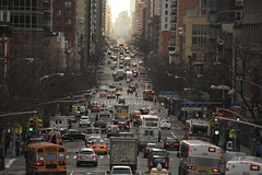 NYC - 2nd Avenue (Fotis Korkokios) Tags: street city nyc newyorkcity urban usa newyork trafficlights cars architecture america canon buildings town traffic manhattan horizon capital transport taxis northamerica avenue bigapple overview urbanlandscape endless urbanphotography thebigapple urbanenvironment rooseveltislandtramway fostis