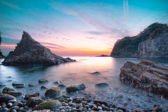 Calmness... [Explore] (-TommyTsutsui- [nextBlessing]) Tags: longexposure blue winter light sunset sea sky orange seascape beach nature rock japan landscape nikon purple dusk magic tide scenic shore      islet izu     nishiizu sigma1020  onsalegettyimages