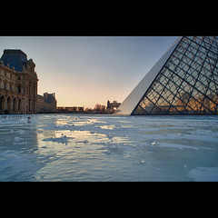 Louvre on ice (Zed The Dragon) Tags: morning winter light sunset paris france ice architecture photoshop reflections french effects flickr view pyramid minolta louvre sony hiver best musee full fave un most frame faves 100 fullframe alpha soir pyramide reflets postproduction gel hdr highdynamicrange sal lelouvre zed coms lumires glace 2012 francais verre cour lightroom historique effets storia parisien carre 24x36 poselongue a850 eclairages sonyalpha nd1000 dslra850 alpha850 mygearandme zedthedragon 100coms mosaique2012a