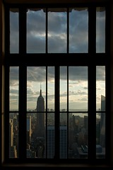 Window ~ Explored (edwardhorsford) Tags: new york sunset holiday building window silhouette skyline skyscraper observation state dusk center visit deck empire rockefeller